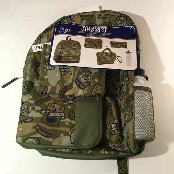 Camo School Backpack with matching lunch bag pencil case water bottle carabiner